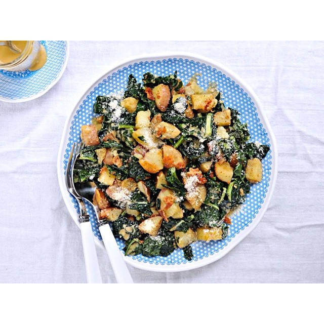 Duck Fat-roasted Potato + Wilted Kale Salad With Miso-mustard Dressing (gluten-free)