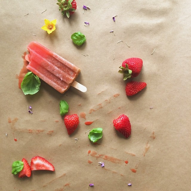 Strawberry & Basil Popsicles With Orange Juice