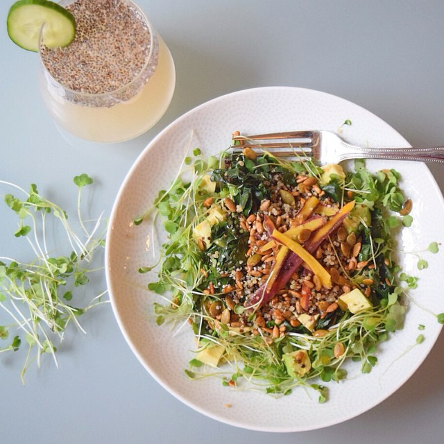Quinoa & Kale Avocado Salad With Purple Haze Carrots & Sprouts