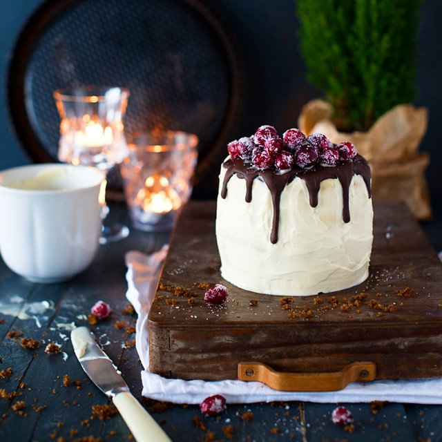 Christmas Cake With Gingerbread, Coffee Mousse And Sugared Cranberries