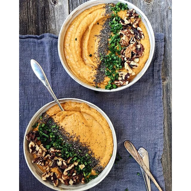 Savory Sweet Potato, Golden Beet & Maui Onion Smoothie Soup Bowl With Bone Broth & Oat Milk