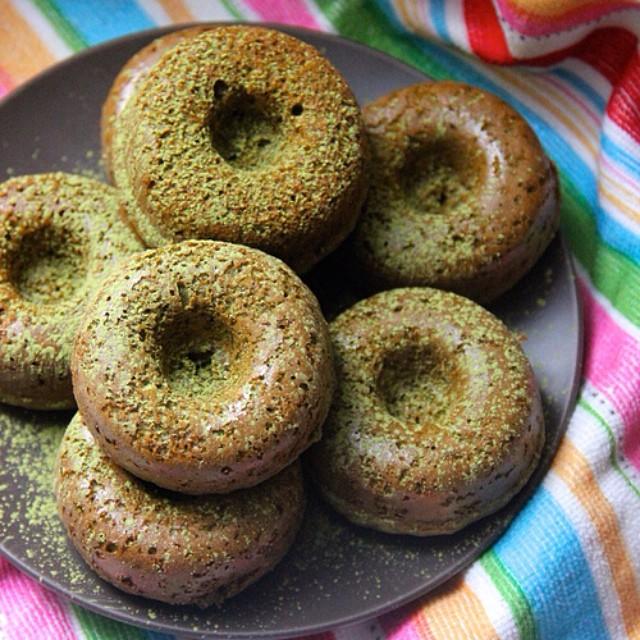 Baked Mini Spelt Flour And Matcha Donuts