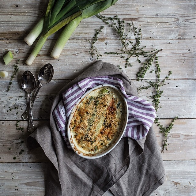 Leek Gratin With Breadcrumbs And Parmigiano