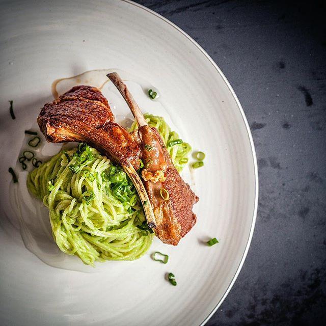 Lamp chops and spaghettini in broccoli pesto. Almond oil.  #feedfeed @thefeedfeed