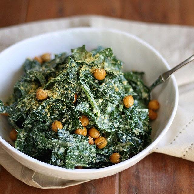 Kale Caesar Salad With Chickpeas, Hemp & Cashews