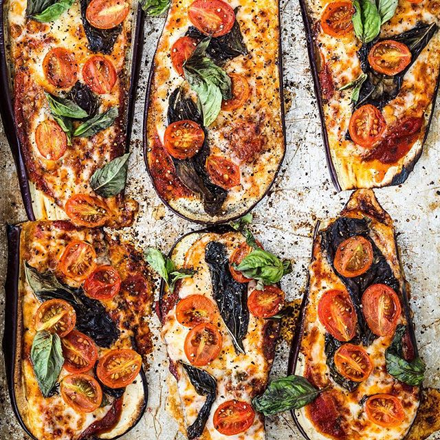 Eggplant Crust Pizza With Fresh Tomatoes And Basil
