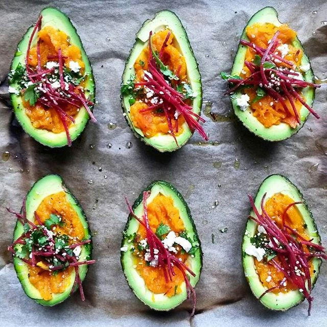 Pumpkin Hummus, Feta Cheese, Cilantro And Beet Sprouts Stuffed Avocados