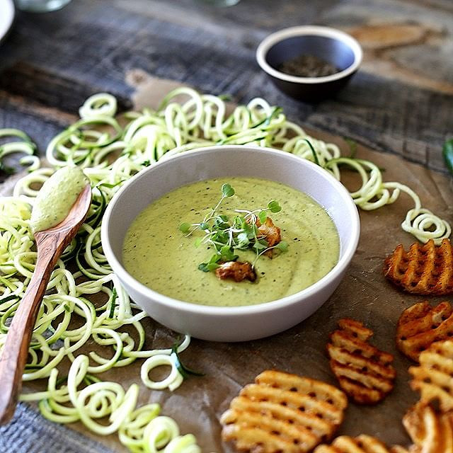 Zucchini & Edamame Soup With Garlic, Lemon & Goat Cheese
