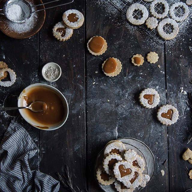 #vscocam Rosemary + salted caramel Linzer cookies are #ontheblog today!