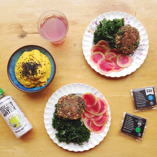 Spinach Quinoa Patties With Marinated Kale And Watermelon Radishes