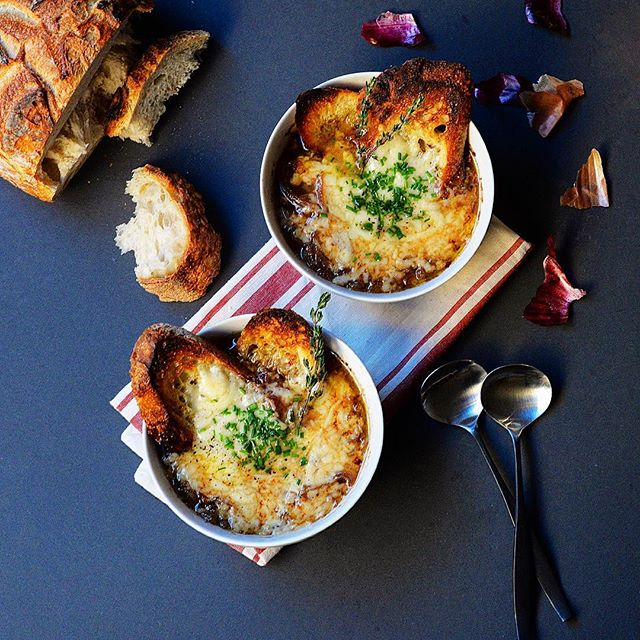 French Onion Soup With Sourdough And Gruyere Toasts