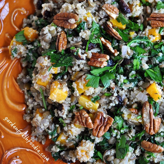 Quinoa Miso Salad With Lentils, Roasted Butternut Squash & Cranberries