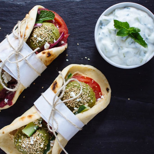 Falafel Gyros With Garlic & Beet Hummus