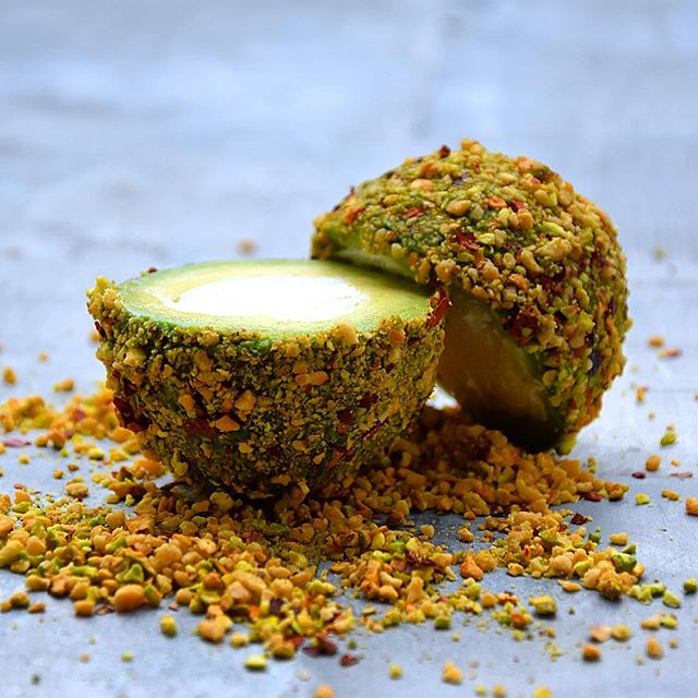 Avocado 'Truffle' Coated with Almonds, Pistachos, Lime zest and Chili Flakes. Stuffed with Goat…