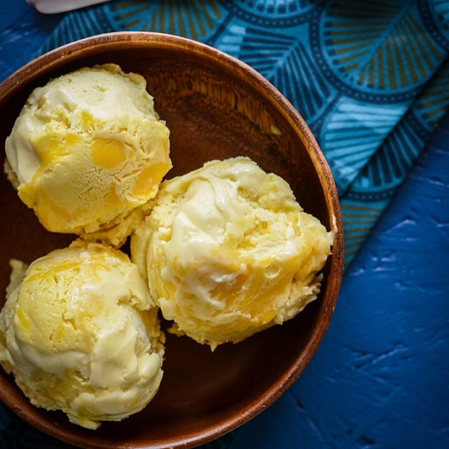 Coconut Ice Cream with Pineapple Curd Swirl.