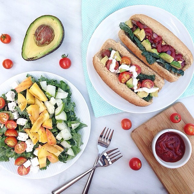 Vegan Carrot Hot Dogs And Peach, Feta And Kale Salad