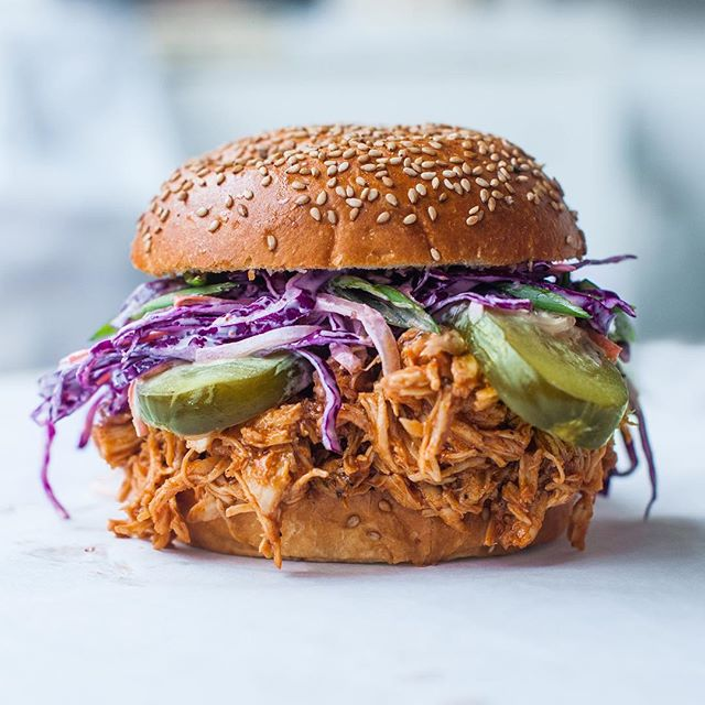 Chipotle Bbq Pulled Chicken Sandwich With Purple Cabbage Slaw
