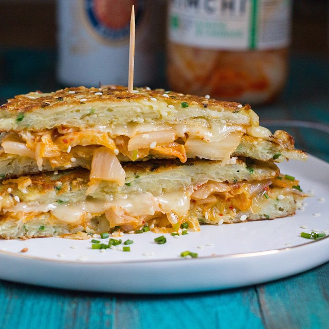 Kimchi Quesadilla Latkes. You'll wonder why no one put these magical things together before!!