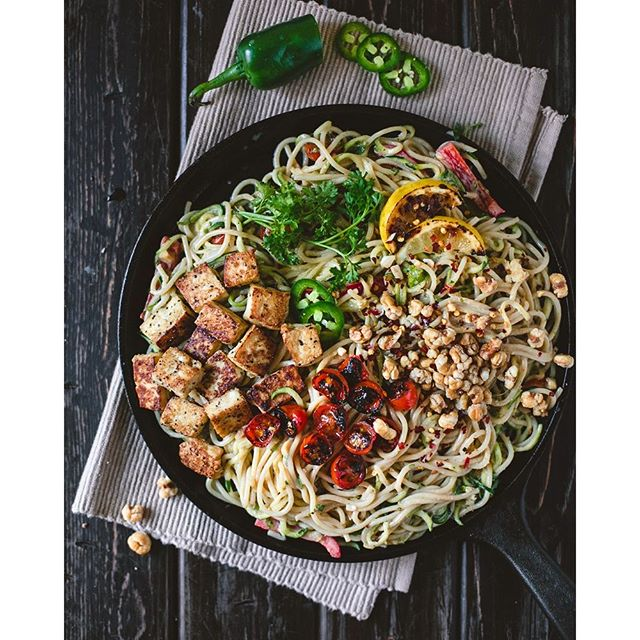 Spicy Peanut Zucchini Noodles With Tofu