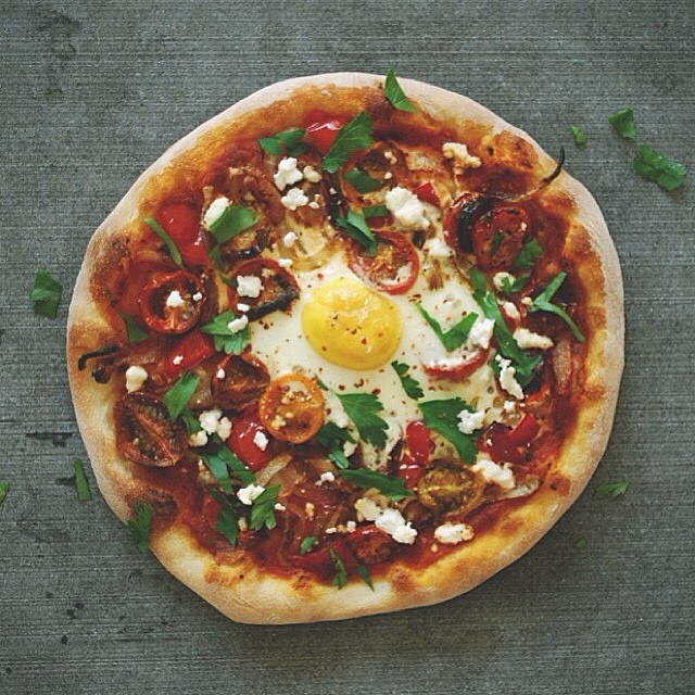 Shakshuka Breakfast Pizza With Feta & Parsley