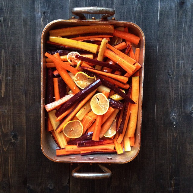 Harissa And Maple Roasted Carrots