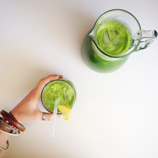 This is my everything-green-in-the-fridge-and-a-pineapple juice. the perfect refreshment after a…