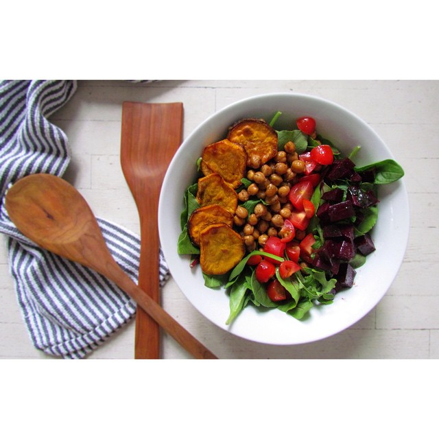 Balsamic Beets, Za'atar Roasted Chickpeas And Sweet Potato Salad