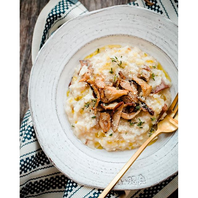 Risotto With Oyster Mushrooms And Parmesan Cheese