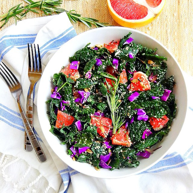 Grapefruit And Kale Salad With Rosemary Citrus Dressing