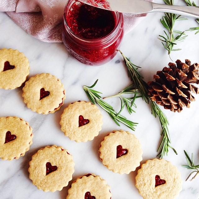 Shortbread Cookies Filled With Cranberry & Chia Jam