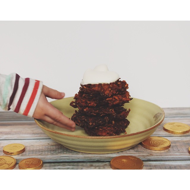 'carrot Cake' Latkes + Whipped Cream Cheese Frosting