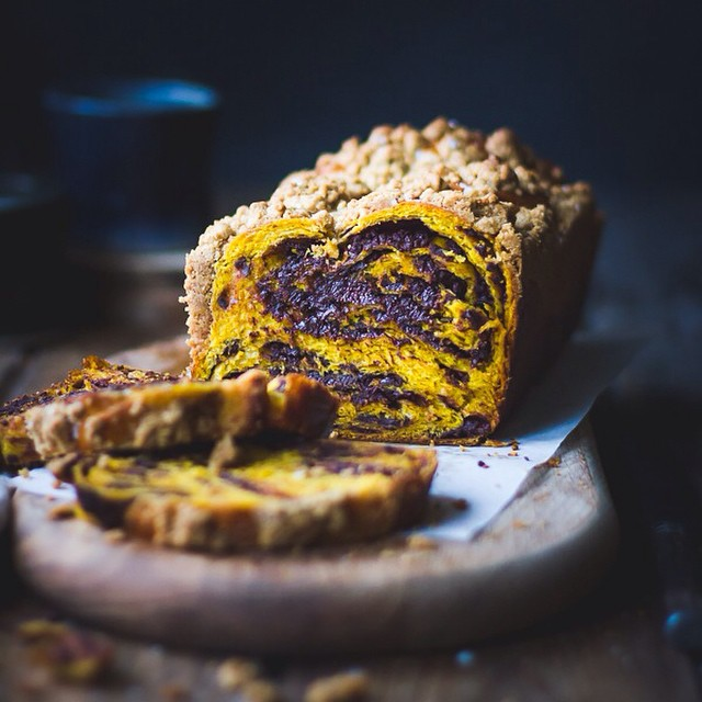 Pumpkin, rye & chocolate babka topped with a salty maple sugar streusel