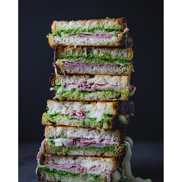 Grilled Ham And Gruyere Cheese With Minty Sweet Pea Spread