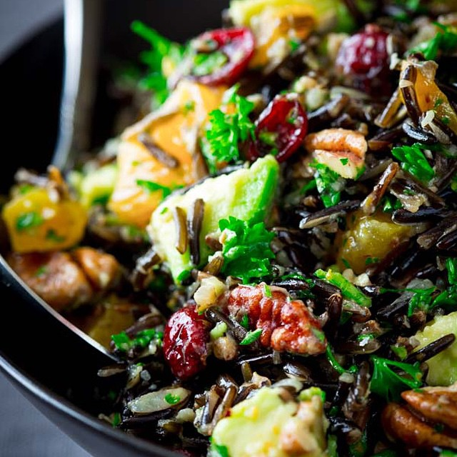 Wild Rice Salad with Dried Cranberries, Apricots and Avocado. A delicious make-ahead side-dish for…