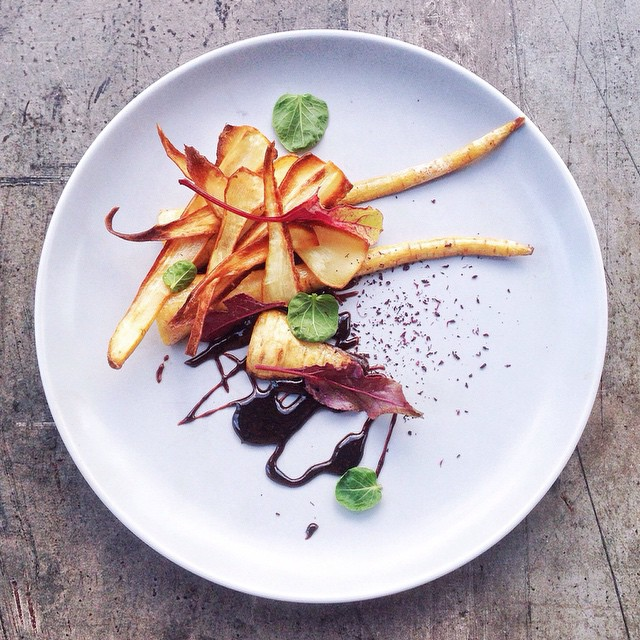 Vanilla Poached Parsnips With Mushroom & Coffee