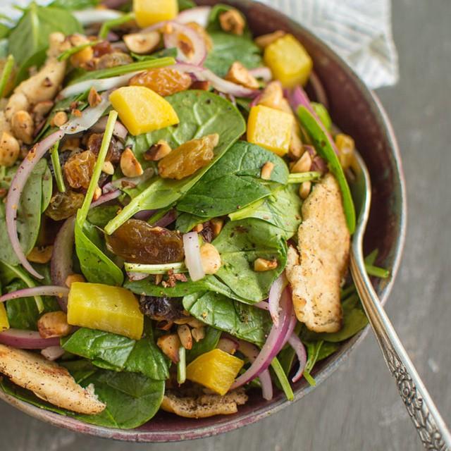 Toasted Pita & Hazelnut Spinach Salad