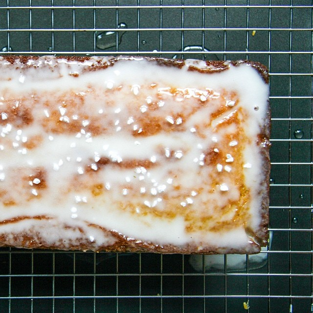 lemon loaf with lavender glaze. Also topped with my favorite @kingarthurflour Swedish pearl sugar.
