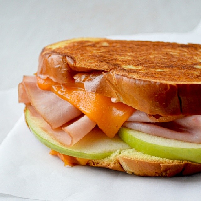 Apple, Ham, & Cheddar Grilled Cheese