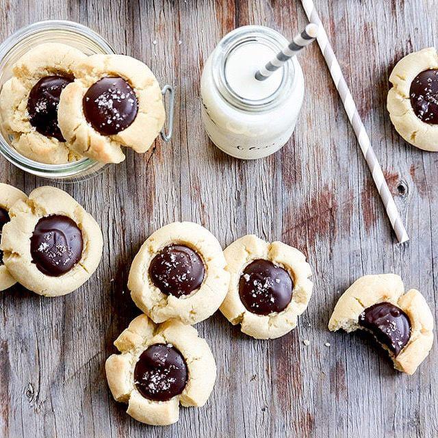 Almond & Chocolate Thumbprint Cookies With Sea Salt Sprinkle