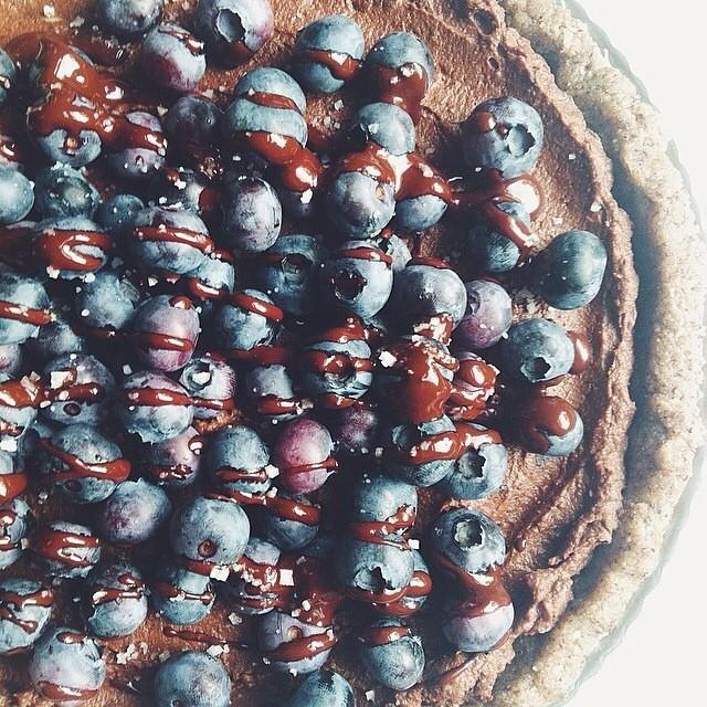 Raw Salted Chocolate Blueberry Pie With A Hazelnut & Almond Crust
