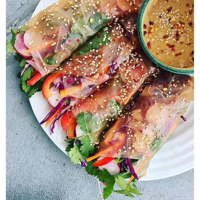 Vegetable Spring Rolls With Spicy Ginger Peanut Sauce