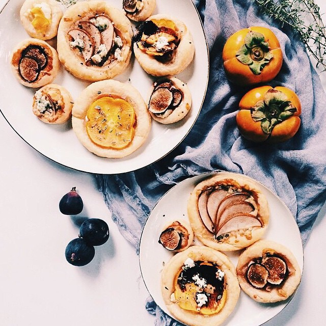 Persimmon, Fig, And Pear Tarts