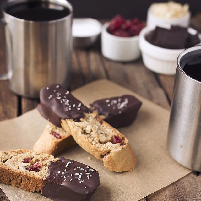 Dark Chocolate Dipped Almond Cranberry Biscotti With Sea Salt