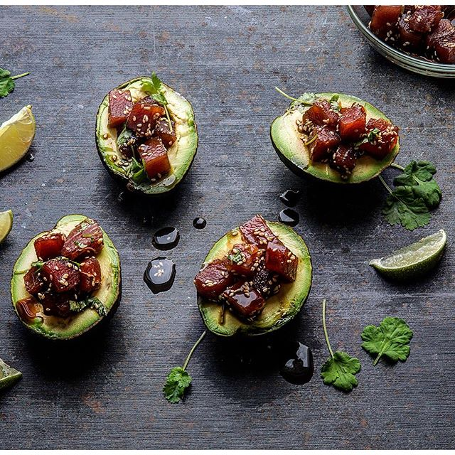 Tuna Poke In Avocado Bowls