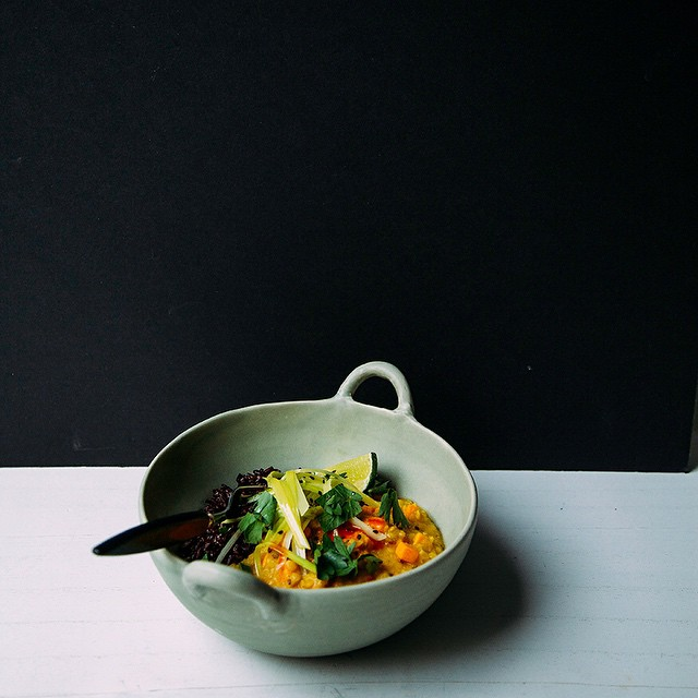 Ginger Sweet Potato Dal With Coconut Leeks On Rice