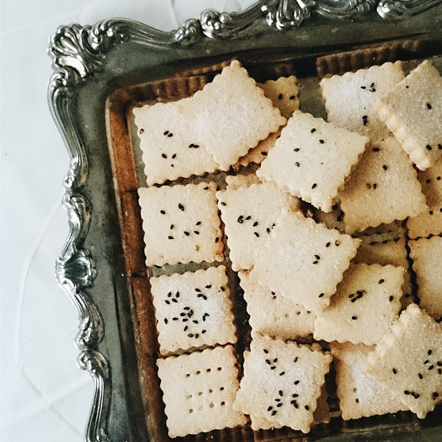 White Miso & Sesame Shortbread With Toasted Black Sesame Seeds
