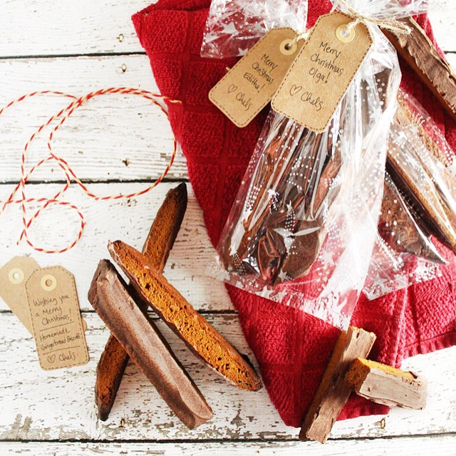 Gingerbread Biscotti Dipped In Chocolate
