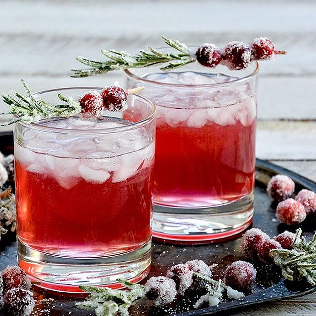 Cranberry Gin Fizzes With Sugared Rosemary Branches