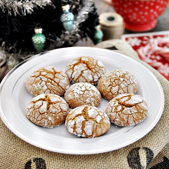 One Bowl Olive Oil Gingerbread Crinkle Cookies