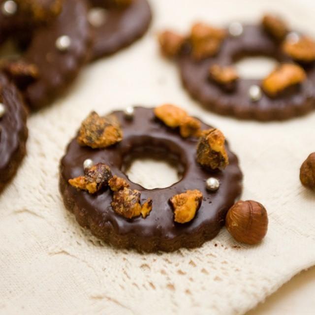 Hazelnut & Chocolate Glazed Shortbread Wreaths